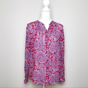 Lucky Brand Textured Paisley Top